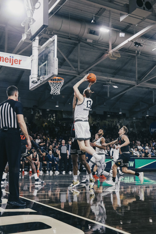 Brad+Brechting+goes+up+for+a+shot+against+the+IUPUI+Jaguars.