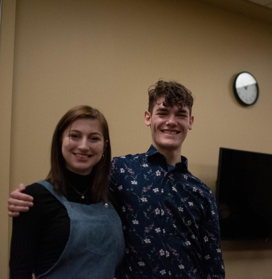 OUSC VP Annabella Jankowski and President Ethan Bradley posing for a photo during their candidacy in 2020.