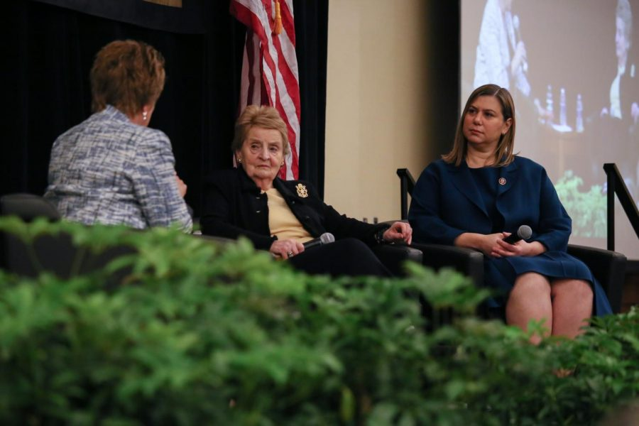 Former Secretary of State Madeleine Albright and U.S. Rep. Elissa Slotkin answer audience questions about national security and mentorship in politics.