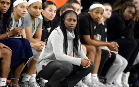 Ke'Sha Blanton on the sidelines coaching against the Youngstown Penguins // Credit: OU Athletics