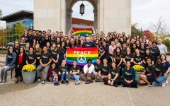 The OUWB students and staff in October 2019 in support of National Coming Out Day.