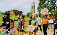 Jai Carrero and Sean King directed a rally and march from Hamlin Circle to Elliott Tower in support of the