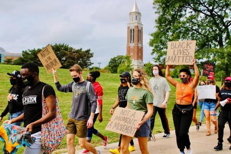 "Jai Carrero and Sean King directed a rally and march from Hamlin Circle to Elliott Tower in support of the ""Black Lives Matter"" movement."