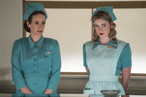 "Nurse Ratchet (Sarah Paulson — left) and Nurse Dolly (Alice Englert) take instruction at Lucia State Hospital. Rachet's character is based off of the book and movie, ""One Flew Over the Cuckoo's Nest"" with a nod to ""American Horror Story."""