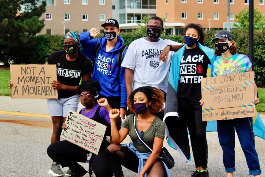 The club, BLM OU, starts their march alongside other supporters.
