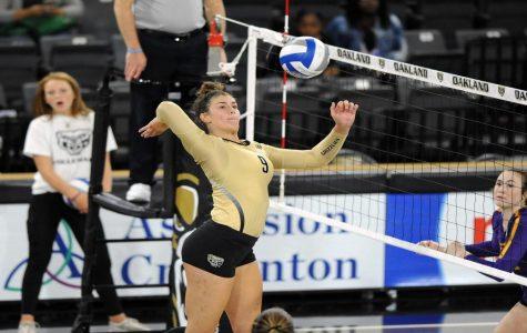 Walling striking the ball vs LSU.