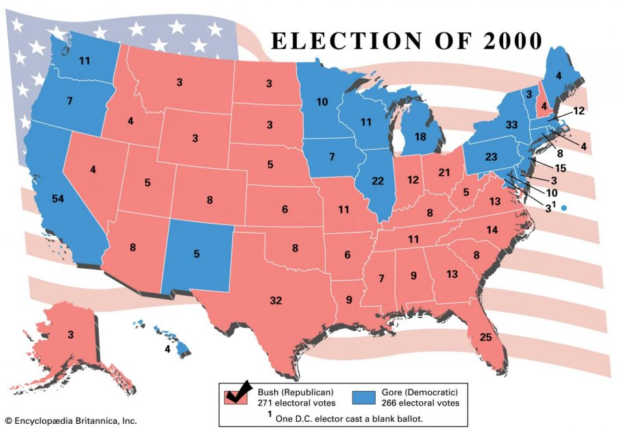 The electoral vote divide is shown in by state for the 2000 election.