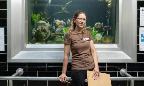 Murray pictured at her job at Belle Isle Aquarium.