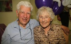 Rabbi Richard Hirsch and Bella Hirsch sit together. These are Dr. Ora Hirsch Pescovitz's parents, and her activism has been inspired by her upbringing.