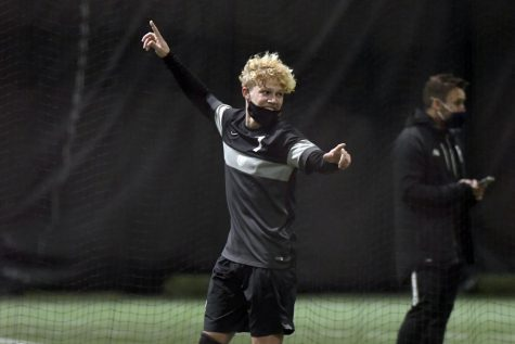 Borczak celebrating against Robert Morris in the Grizz Dome, where he scored three goals and assisted on another.