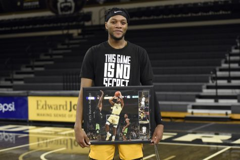 Kevin Kangu was honored this past weekend as Oakland men's basketball's only senior.