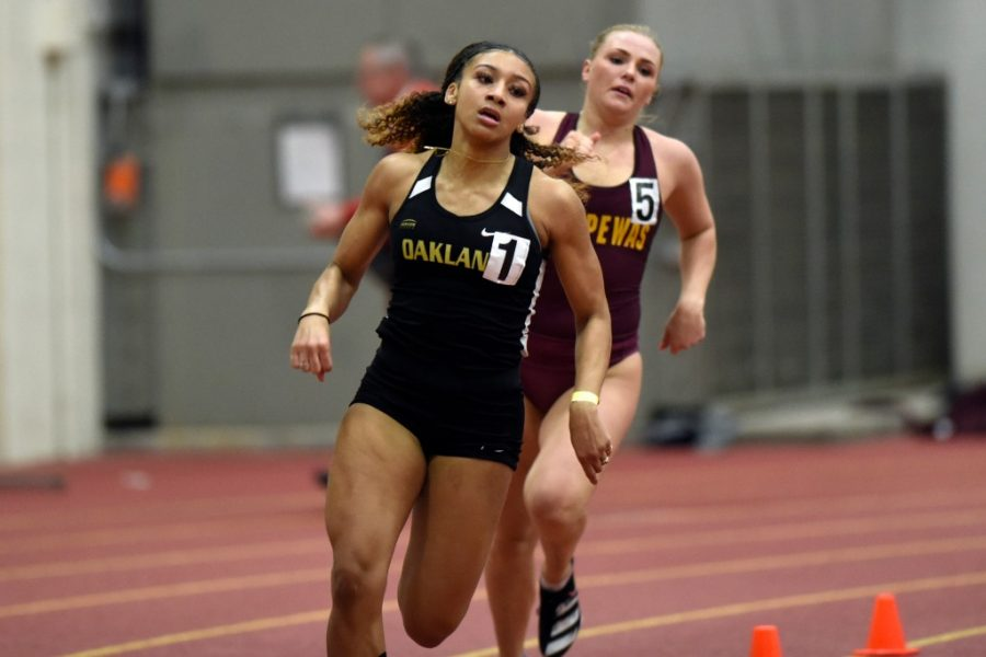 Briana Walker competes in a past meet. The track and field teams kicked off their season at the SVSU classic at Saginaw Valley State University.