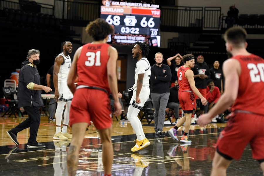 Rashad Williams celebrates a bucket against Youngstown State. Williams led the Golden Grizzlies in points, and scored 19 of his 22 in the second half and overtime.