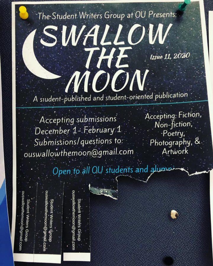 "The flier from last year's ""Swallow the Moon"" journal. Applicants are encouraged to send their work to ouswallowthemoon@gmail.com for the 2021 journal, which has an April 1 deadline."