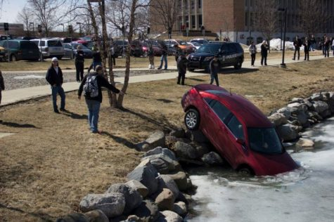 Shuana Hazime found her car in Bear Lake after class on Wednesday April, 2. Her vehicle is only the most recent that has taken the plunge though.