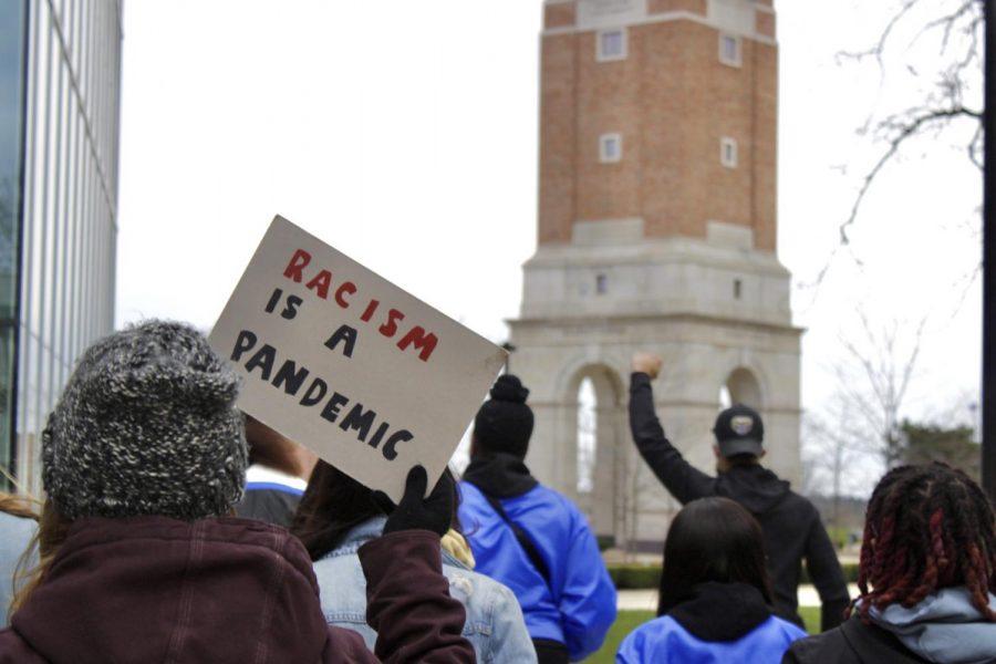 Students gather near Elliott Tower for Thursday's BLM OU demonstration.