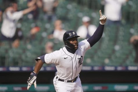 Akil Baddoo celebrates a home run. Baddoo is an exciting young prospect the Tigers nabbed from the Twins.