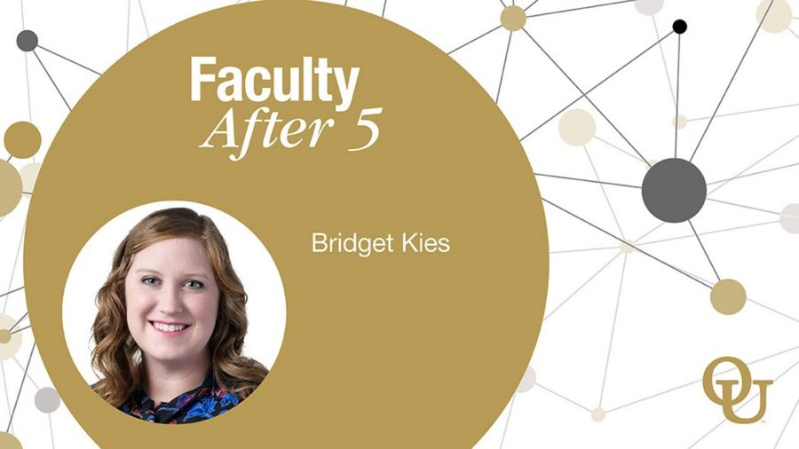 Professor+Bridget+Kies+taking+part+in+the+Faculty+After+5+lecture+series.+Kies+has+been+a+professor+at+OU+since+2019.
