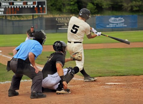 Cam Post puts bat on ball against the Purdue-Fort Wayne Mastodons. OU took the game and finished the season with a win.