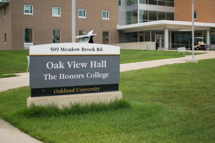 The Honors College's sign outside of Oak View Hall. The Honors College class of 2021 was the largest in history.