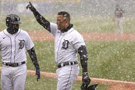 Miguel Cabrera extends a hand to the fans after hitting his iconic snow home run on opening day.