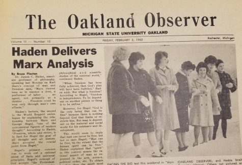 The cover of the February 2, 1962 cover of The Oakland Observer, the former name of OUs student newspaper.