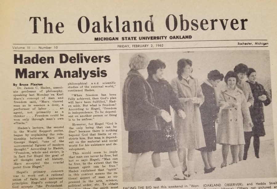 The+cover+of+the+February+2%2C+1962+cover+of+The+Oakland+Observer%2C+the+former+name+of+OUs+student+newspaper.