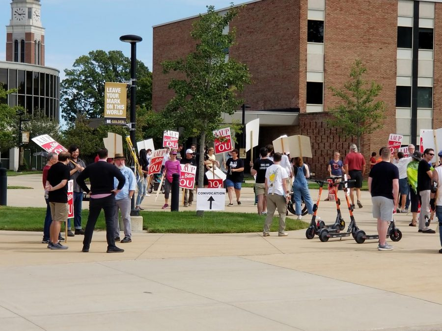 Picketers gathering between North and South Foundation Halls before their march through the heart of campus commenced.