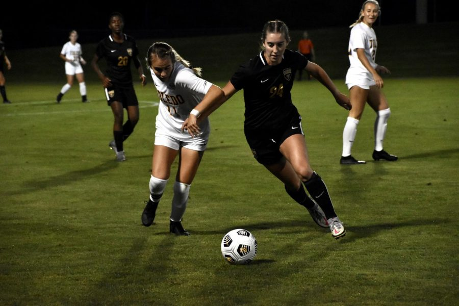 The Grizzlies womens soccer team lost an intense game to the Toledo Rockets on Aug. 27.