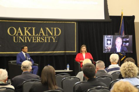 U.S. Rep Elissa Slotkin, former U.S. Rep Mike Rogers and Fox 2 News anchor Roop Raj at the 9/11: Twenty Years Later panel discussion on Sept. 9.