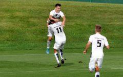 Mikey Ketteman and Charlie Braithwaite celebrating a goal.