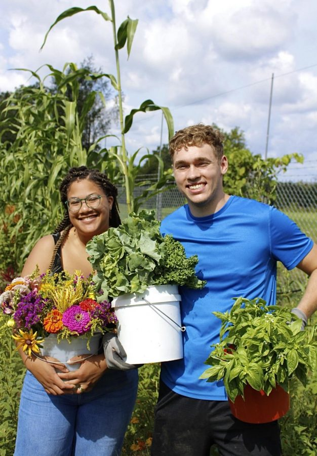 Students celebrating their harvest during Fridays at the Farms.