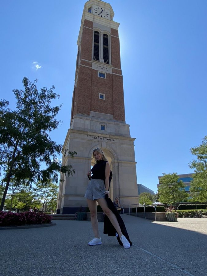 Madeleine strikes a pose outside Elliott Tower on the first day of classes.
