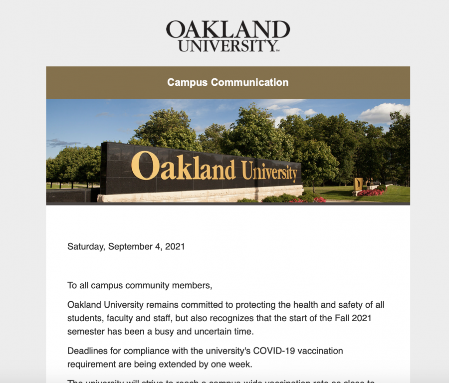 In a Campus Communication email sent on Sept. 4, OU announced an extension to the COVID-19 vaccination deadline by one week.