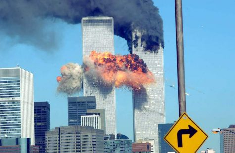 The World Trade Center towers burn after being hit by two planes on September 11, 2001.