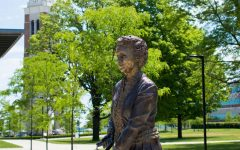 OU Founder Matilda Dodge Wilsons statue outside of the Oakland Center where last weeks BOT meeting was held. With relations between faculty and admins sure to play a role in OUs future, will admins respond to facultys request for a BOT liaison?