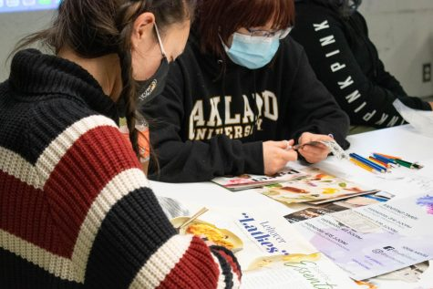 """""""Collage Making Day!"""" was held inside Wilson Hall for students able and comfortable to participate in an interactive art experience as well as through Zoom."""