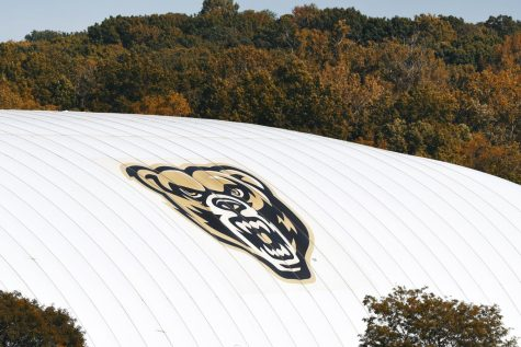 The Golden Grizzly logo on the side of the GrizzDome.