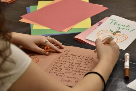 Members of Crafts with a Purpose (CWAP) spent time making and decorating cards that will be handed out to janitorial staff at OU who have worked tirelessly to keep our school clean and safe.