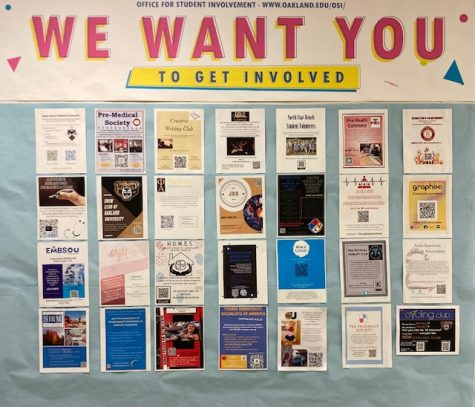 The walls outside the OSI have posters with QR codes for various student organizations.  The OSI helps students get involved on campus.