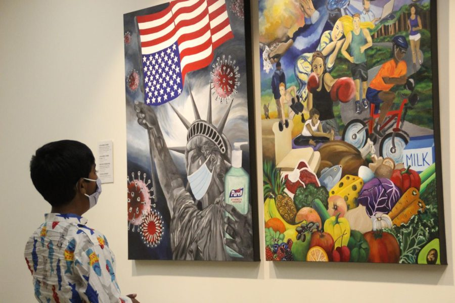 Artist Julianne Webbs paintings Diptych for the Current Times: Era of COVID-19 & Civil Unrest in America and Self Care Strategies featured in the La Piturra art exhibition. The gallery will be open in the Oakland Center until Oct. 24.