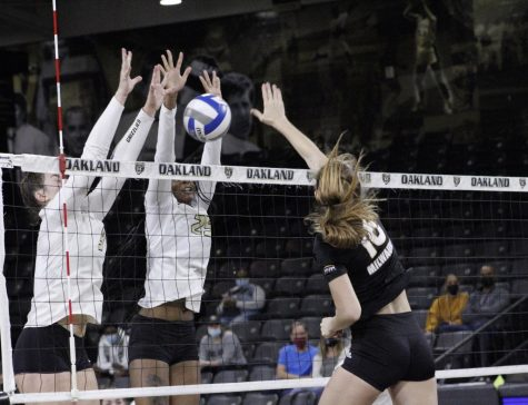 Kerra Cornist and Jamie Walling go for a block against Milwaukee on Oct. 7.
