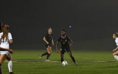 Karabo Dhlamini stares down a defender against Cleveland State on Oct. 7.