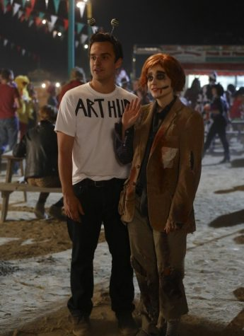 Jake Johnson and Zooey Deschanel as Nick Miller and Jess Day in New Girl episode Halloween (2012)